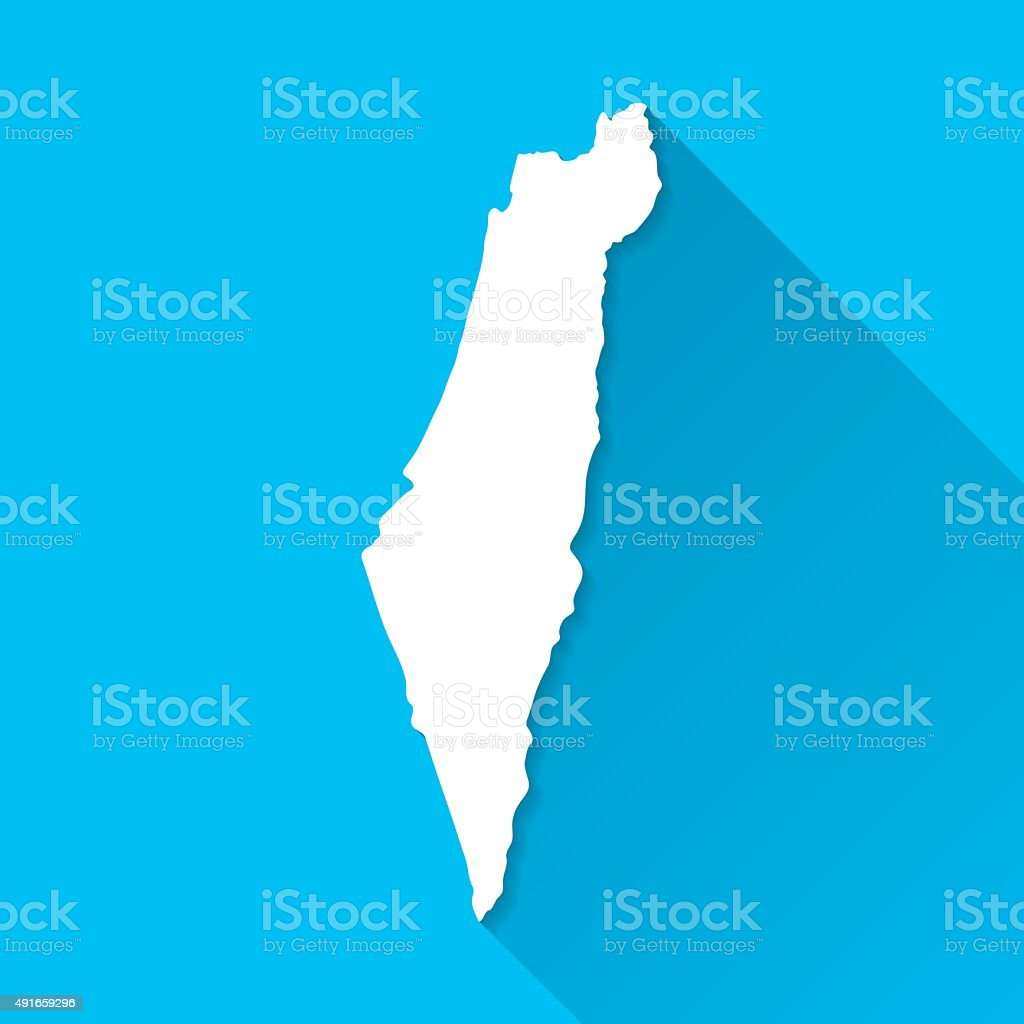 Israel Map on Blue Background, Long Shadow, Flat Design vector art illustration