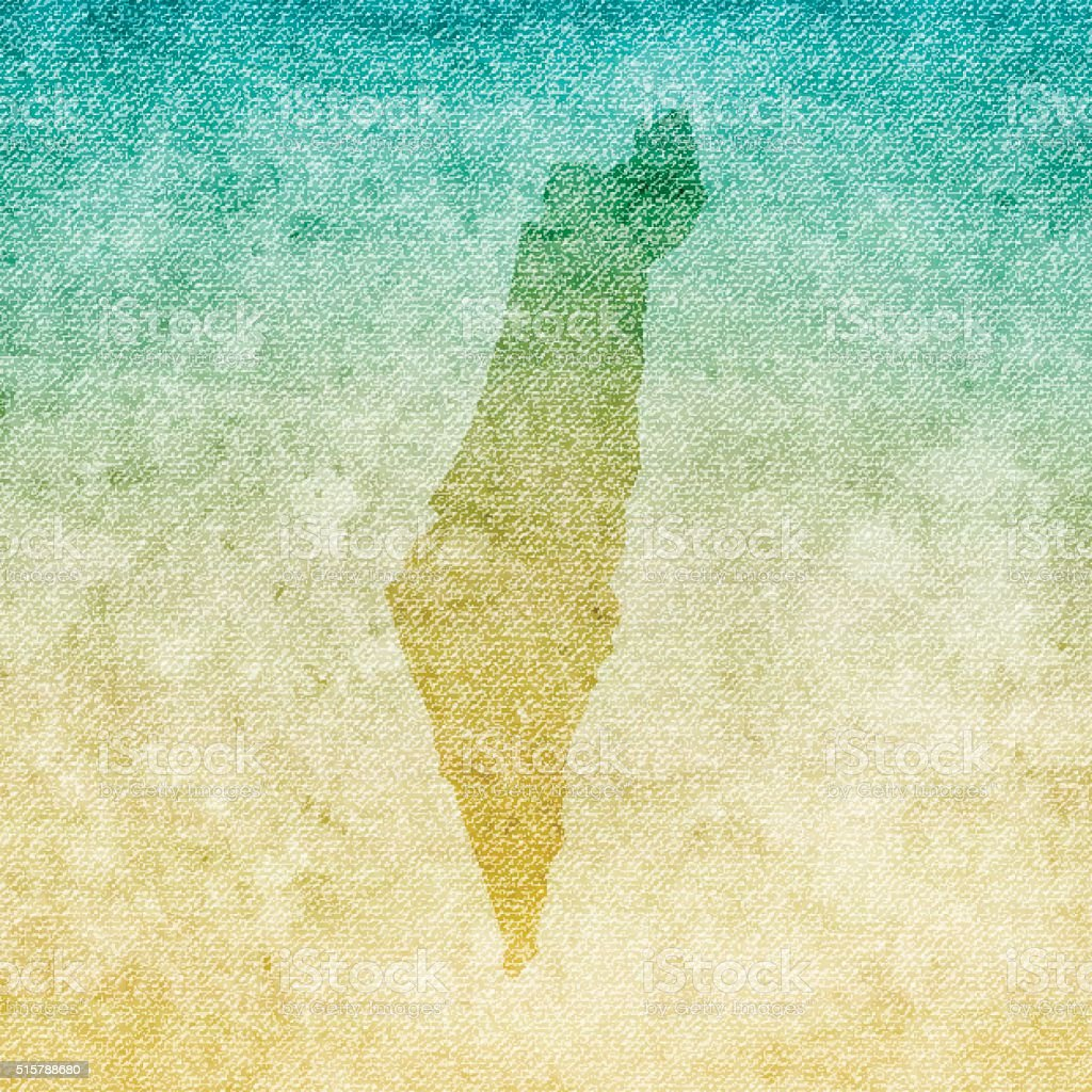 Israel Map on grunge Canvas Background vector art illustration