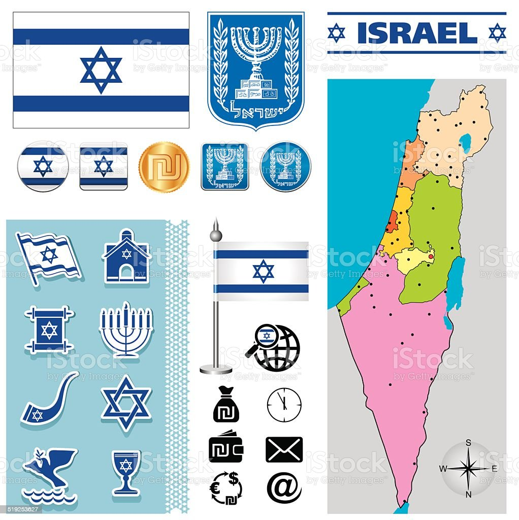 Israel map vector art illustration