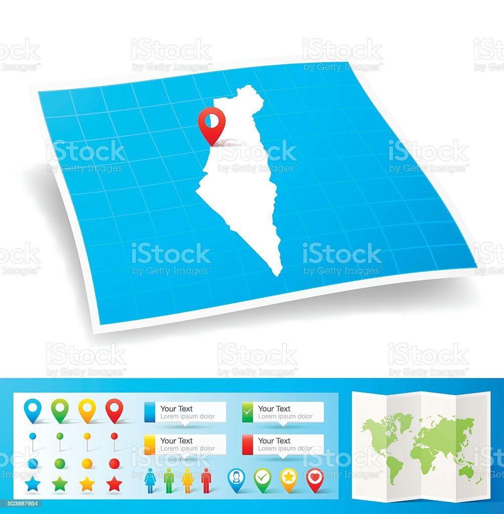 Israel Map with location pins isolated on white Background vector art illustration