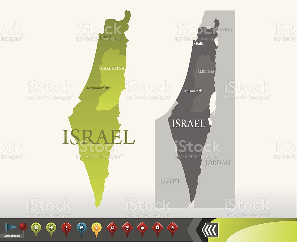 Israel map with navigation icons vector art illustration