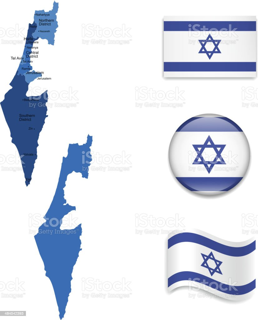 Israel Maps and Flags Collection vector art illustration