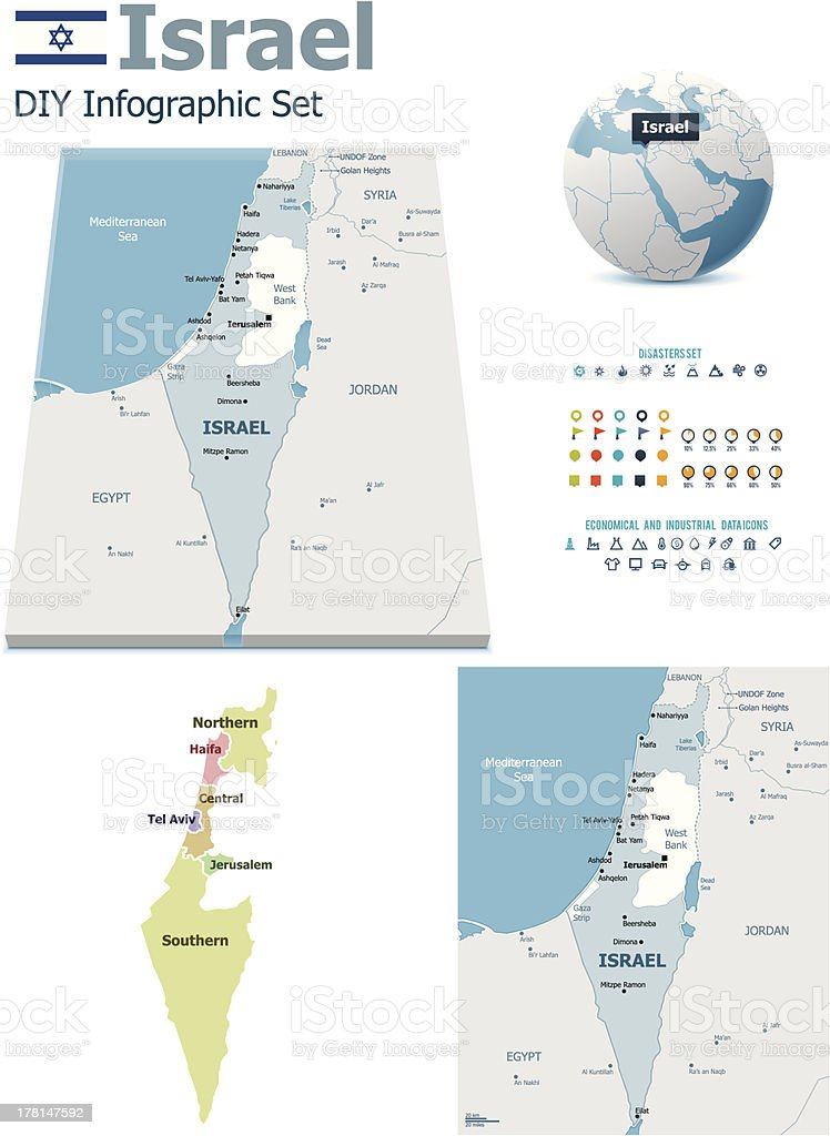 Israel maps with markers vector art illustration