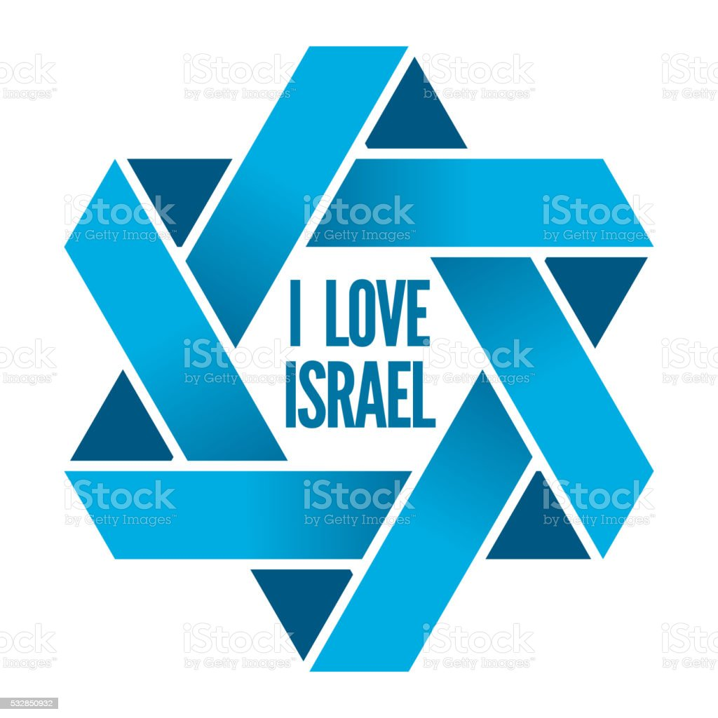 Israel or Judaism logo with Magen David sign vector art illustration