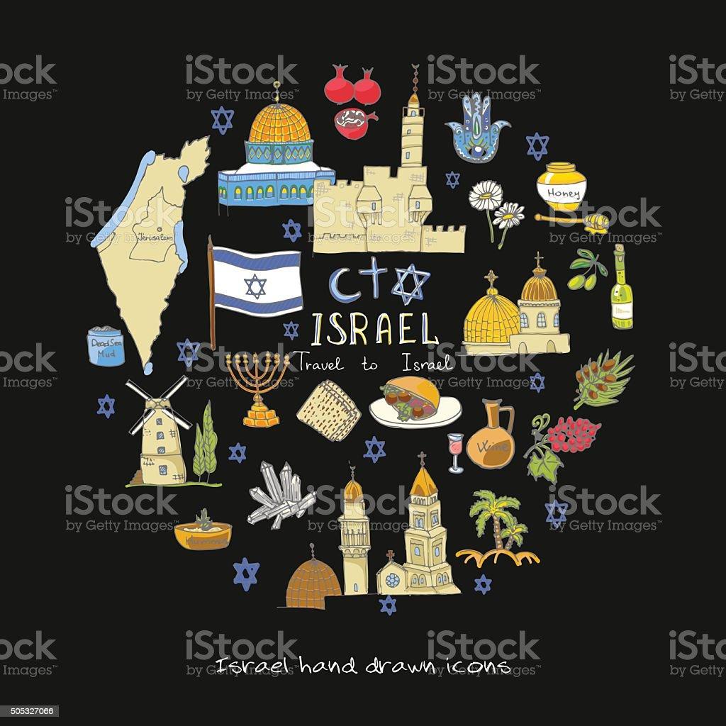 Israel set vector art illustration