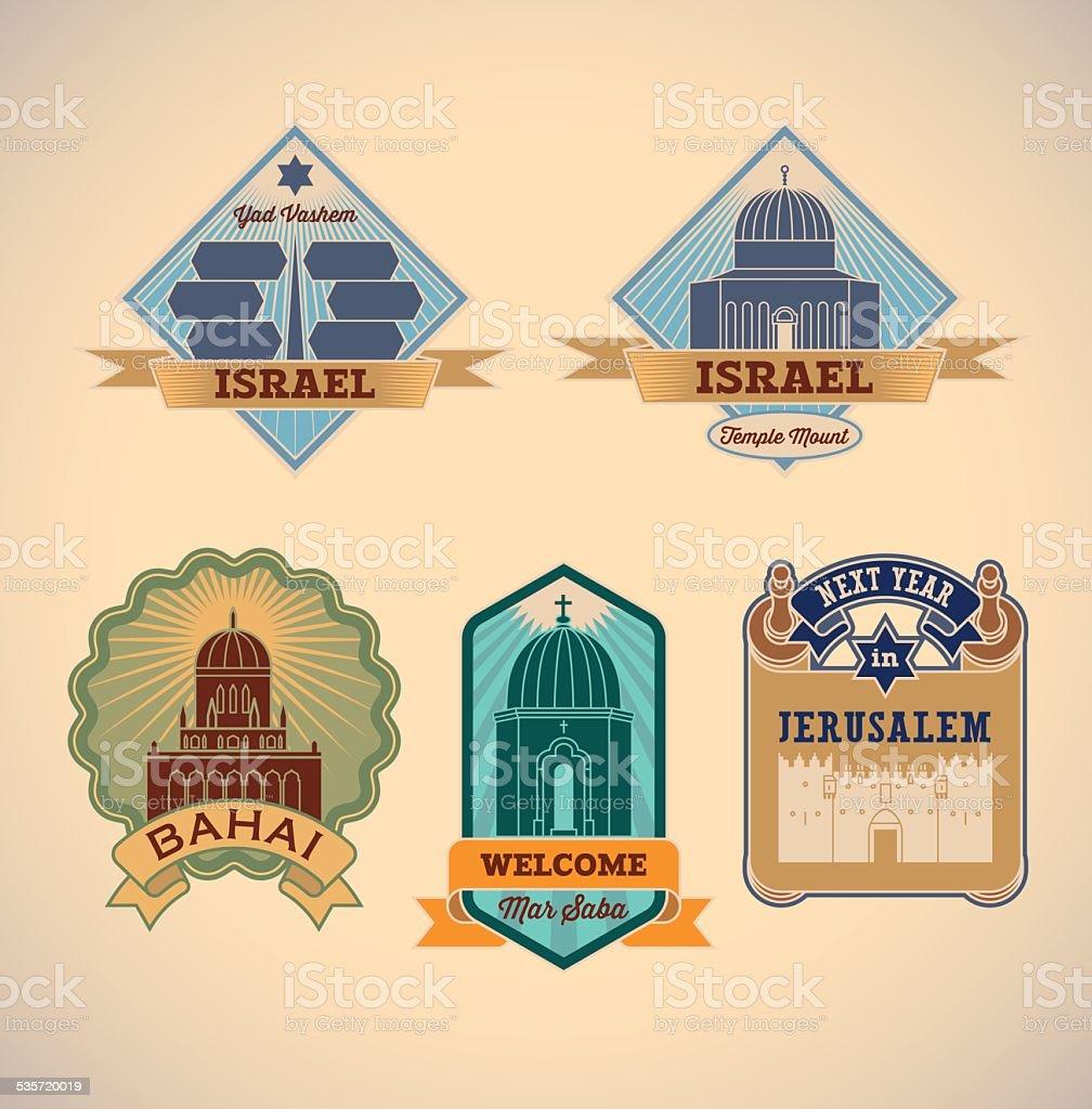 Israel tour labels vector art illustration