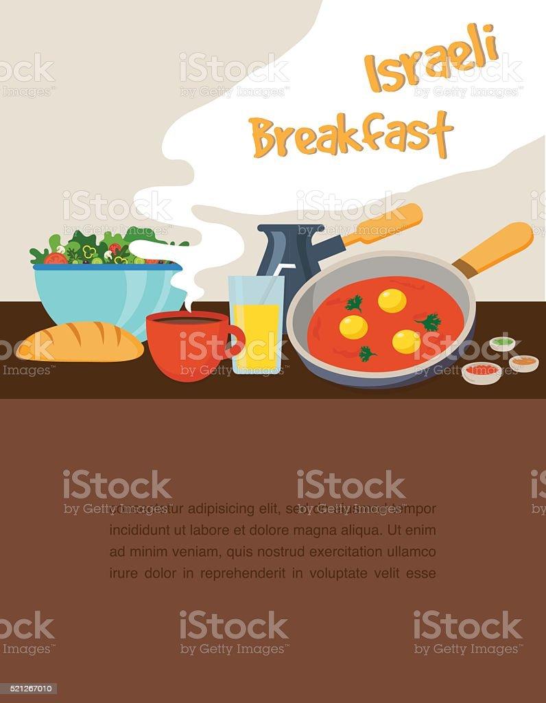 Israeli breakfast with shakshuka coffee and salad vector art illustration