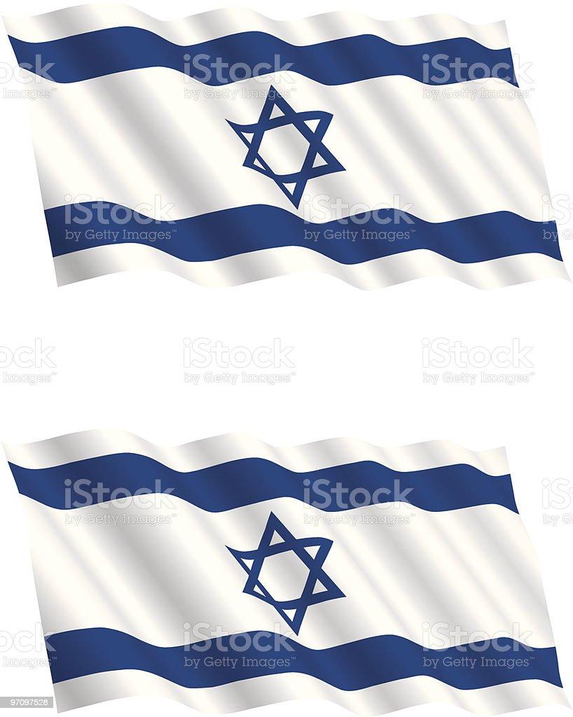 Israeli Flag Flying in the Wind royalty-free stock vector art