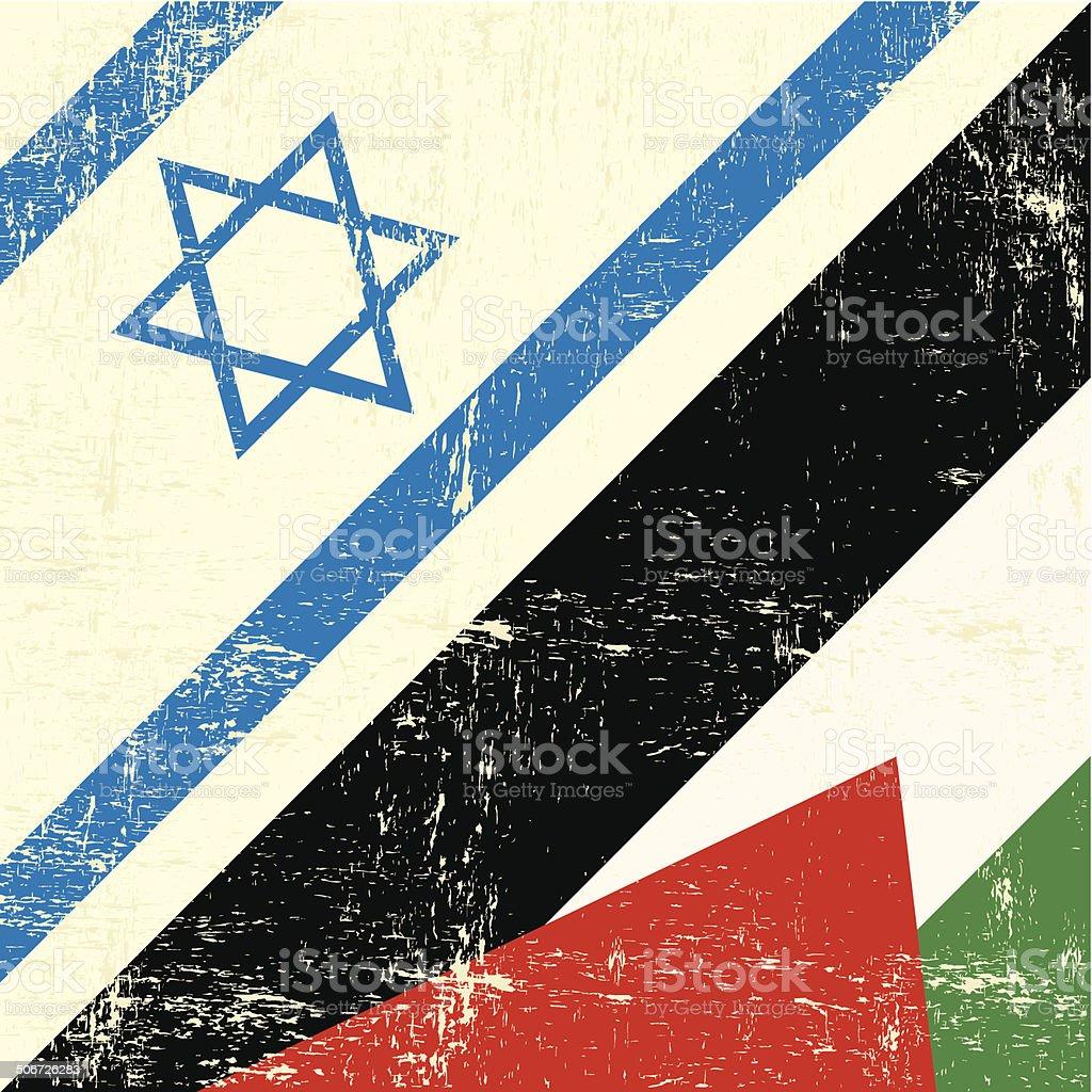 Israeli_and_palestinian grunge flag vector art illustration
