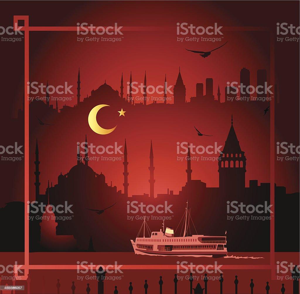 Istanbul at night royalty-free stock vector art