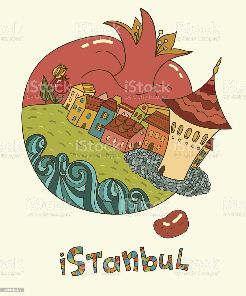 La ciudad de Estambul en forma de granada. illustracion libre de derechos libre de derechos