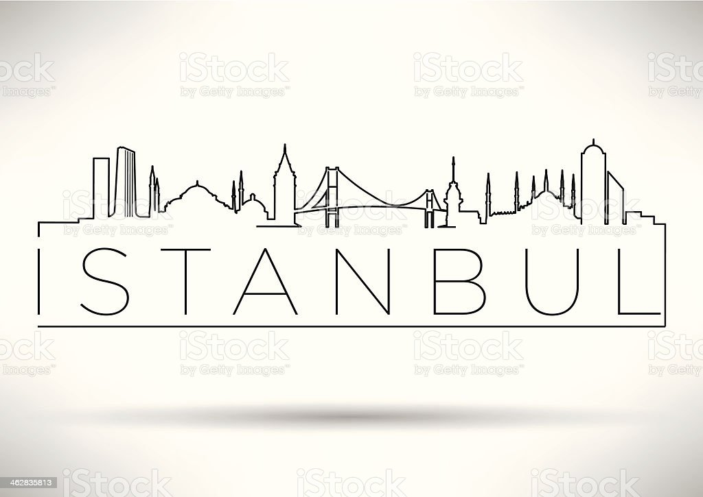 Istanbul City Line Silhouette Typography Design royalty-free stock vector art