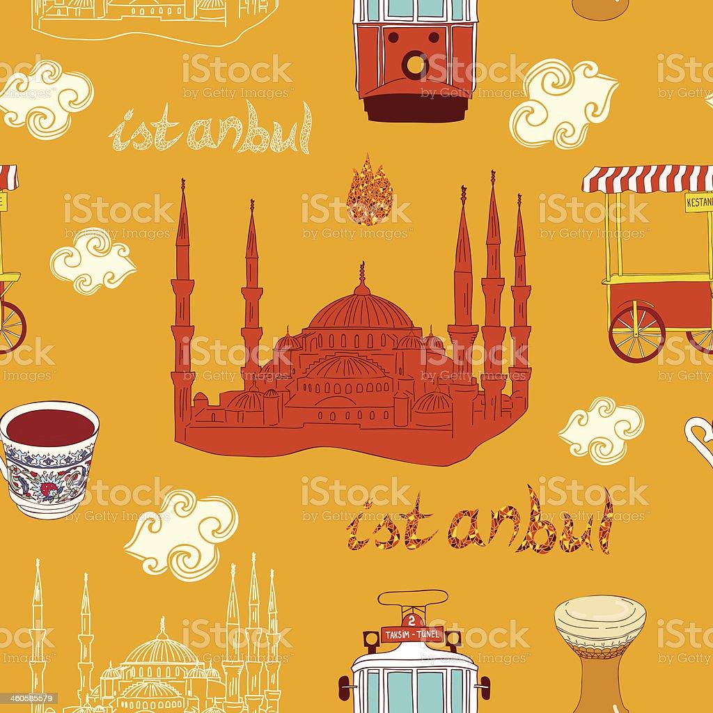 Patrón sin costuras de la ciudad de Estambul. illustracion libre de derechos libre de derechos