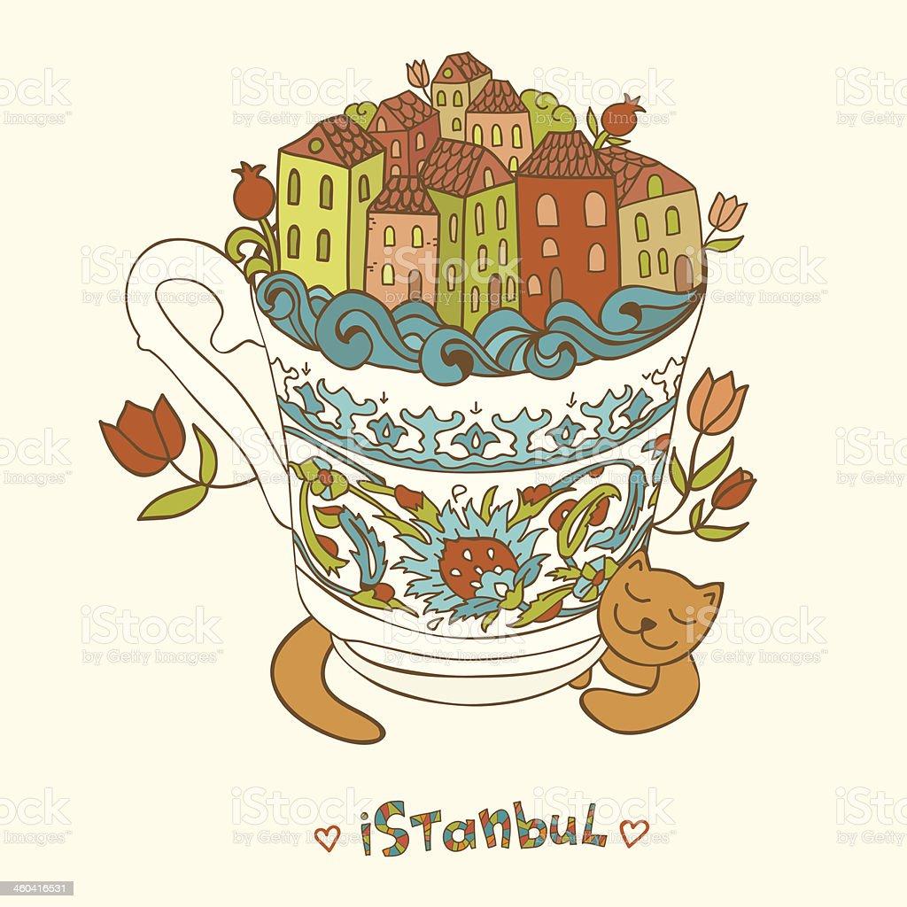 Estambul, Turquía forma de la taza de café rojo de cat. illustracion libre de derechos libre de derechos