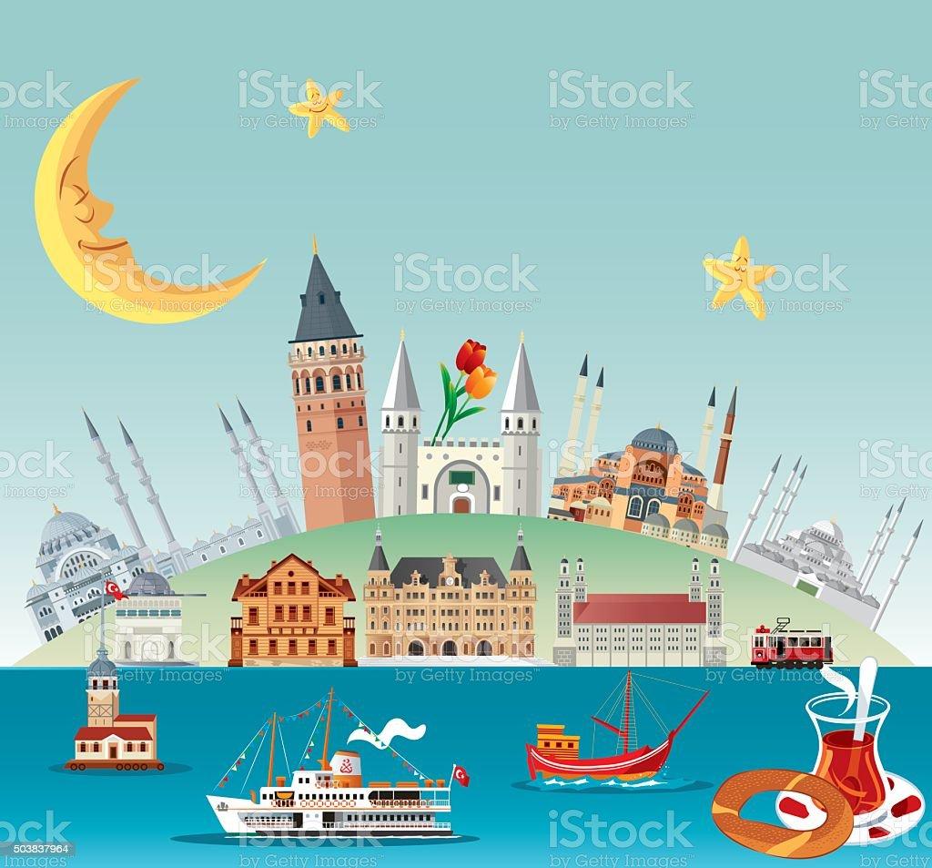 Istanbul Poster vector art illustration