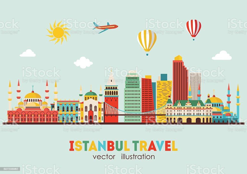Istanbul skyline detailed silhouette. Vector illustration vector art illustration