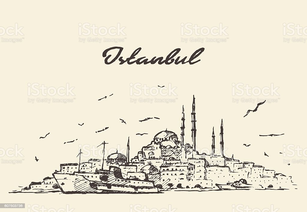 Istanbul skyline Turkey illustration drawn sketch. vector art illustration