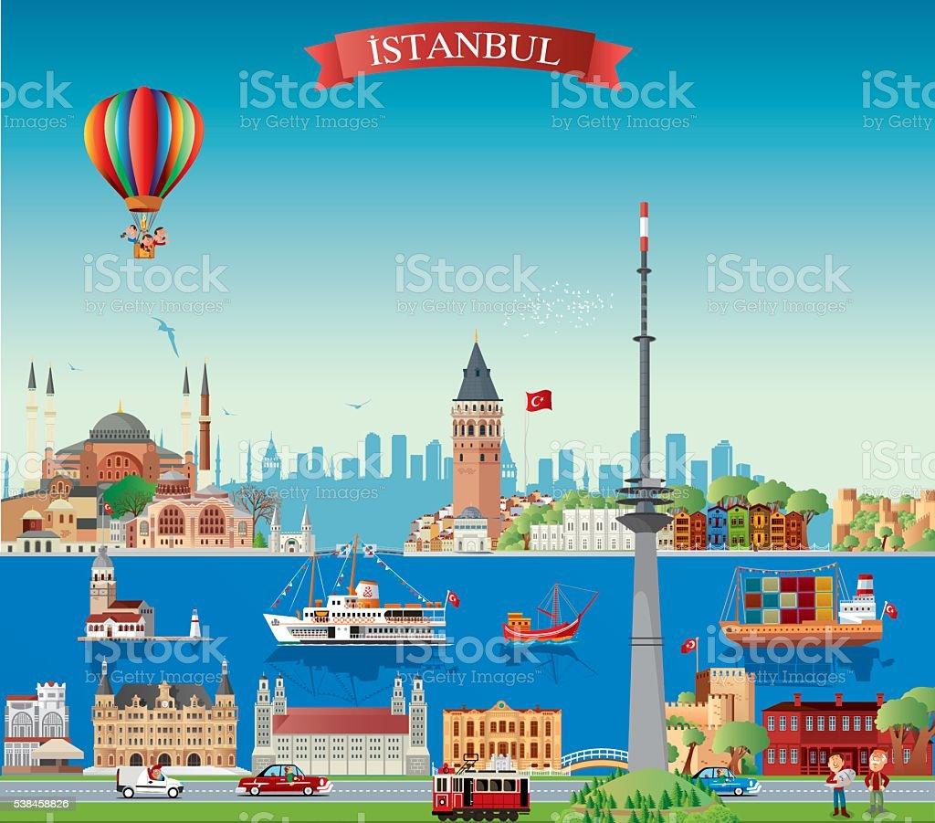 Istanbul Skyline vector art illustration