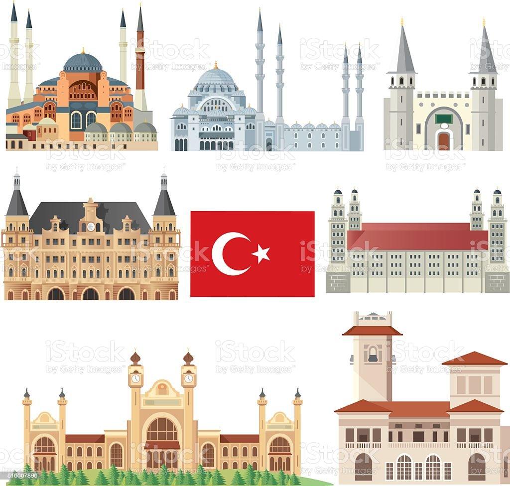 Istanbul Symbols vector art illustration