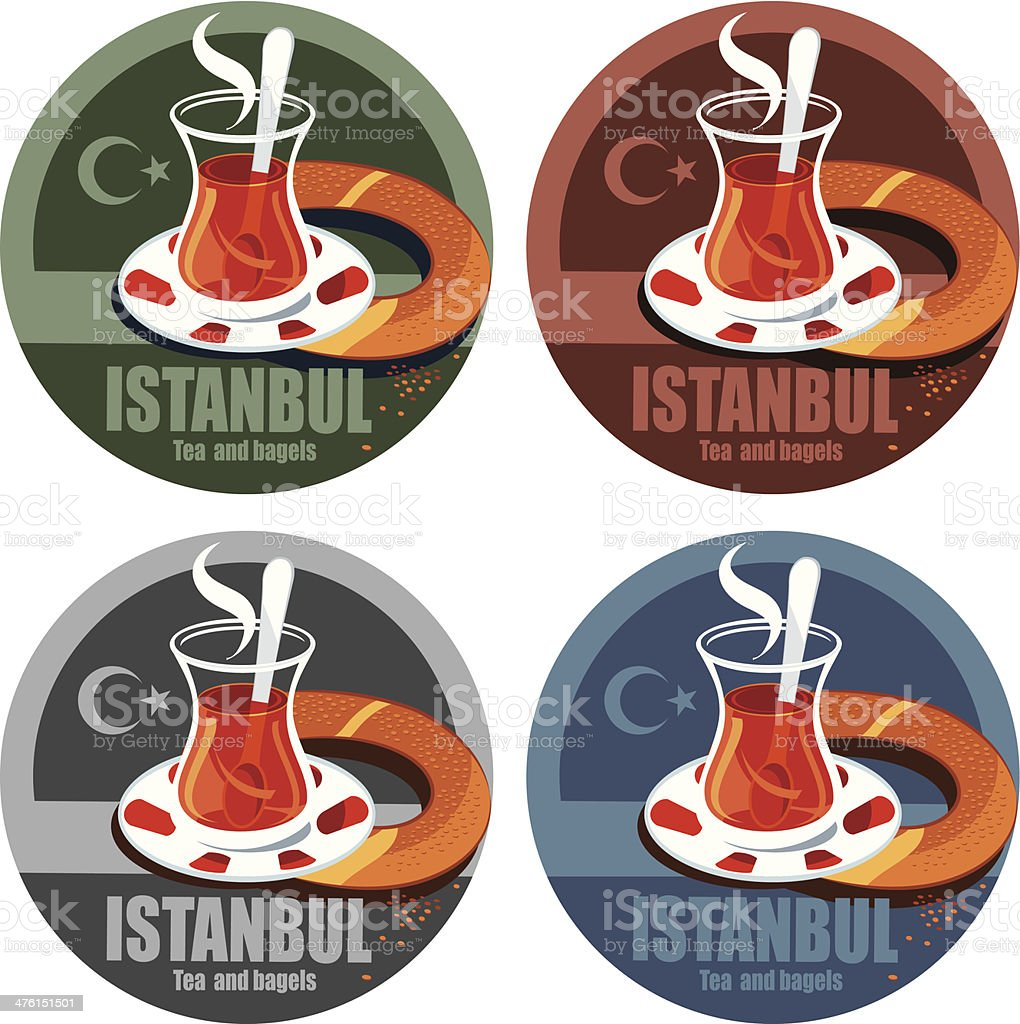 Istanbul, tea and bagels vector art illustration
