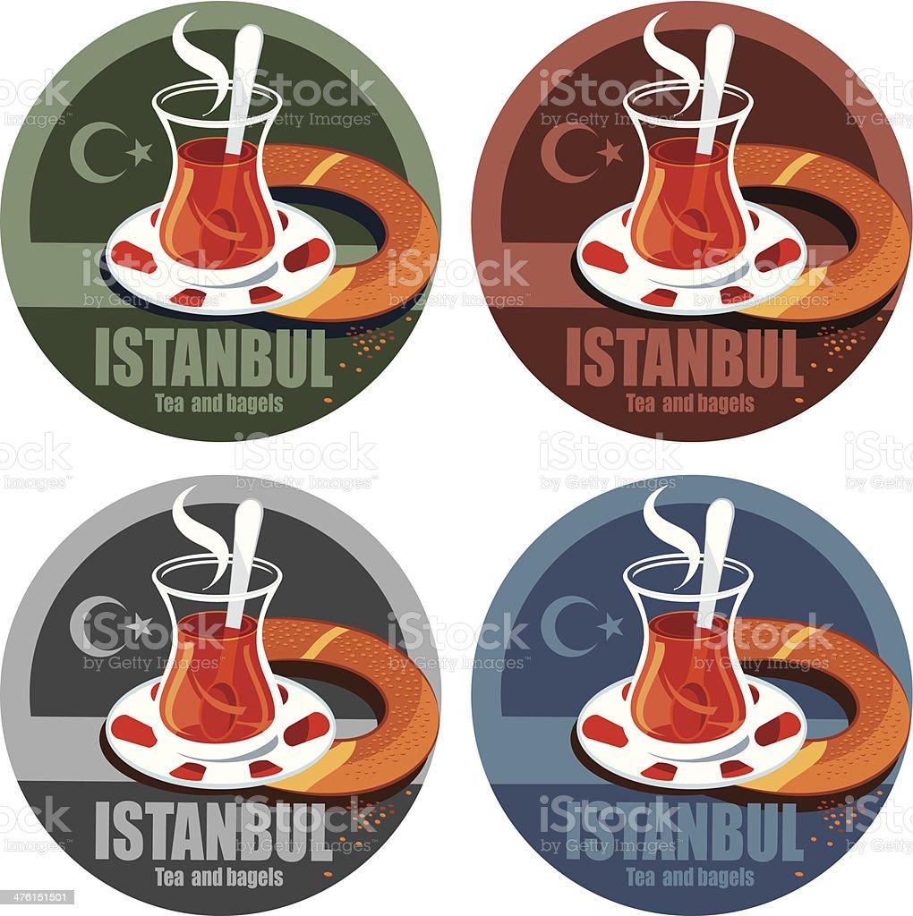 Istanbul, tea and bagels vector art illustration