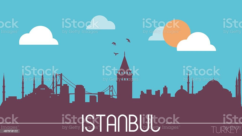Istanbul Turkey skyline silhouette vector art illustration