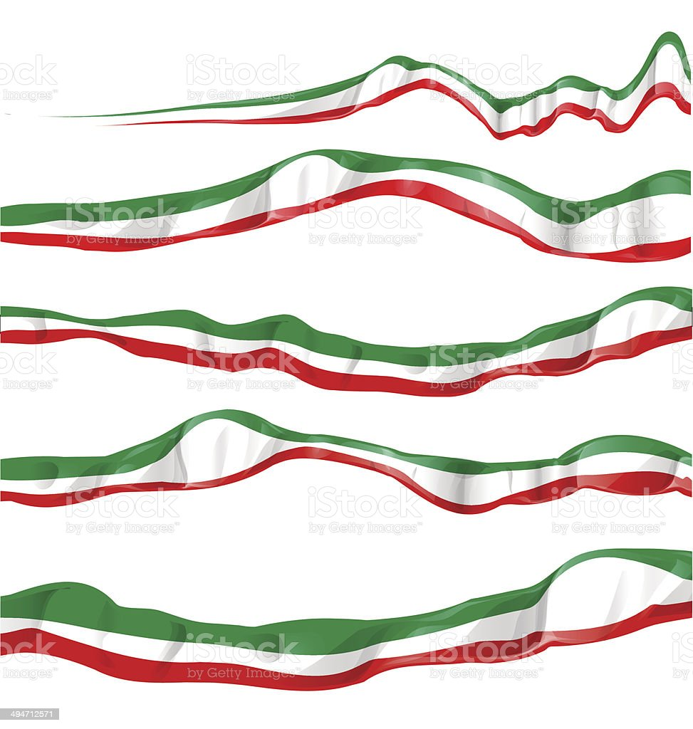 italian and mexican flag set vector art illustration