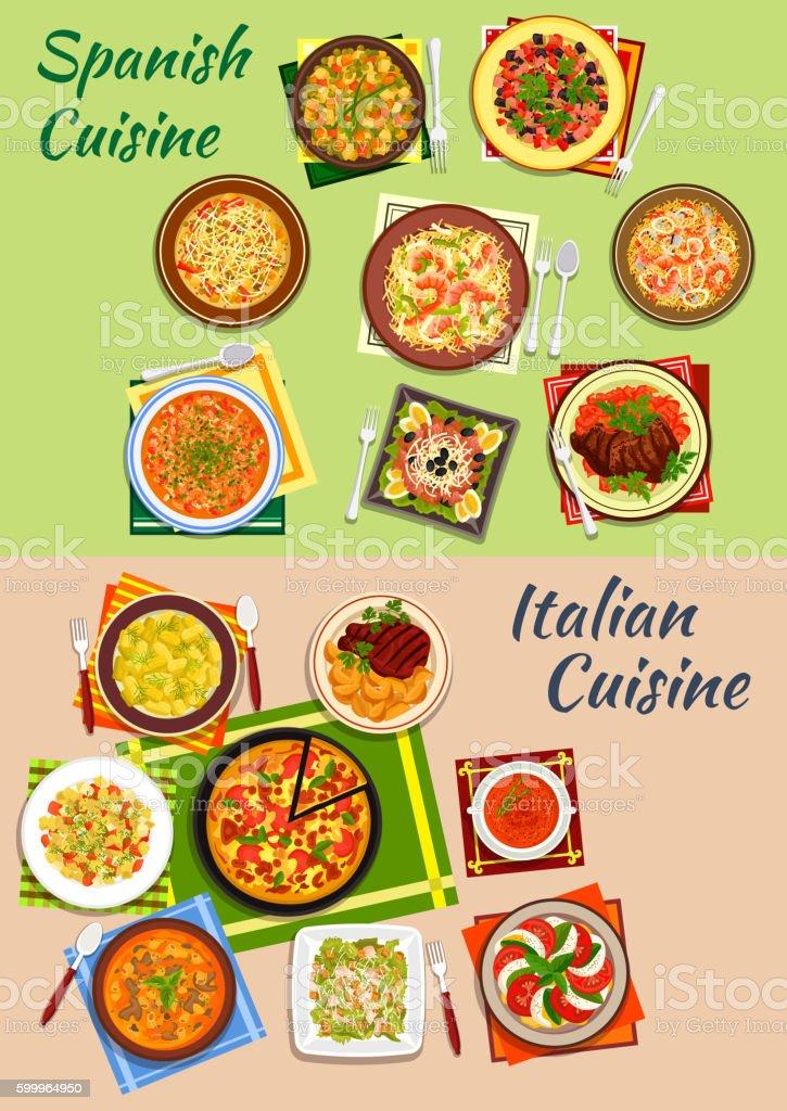 Italian and spanish cuisine fresh dinner icon vector art illustration