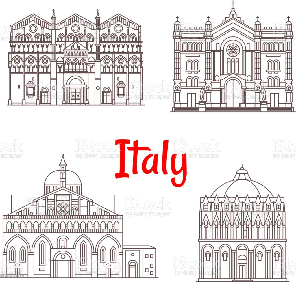 Italian architecture Italy landmarks vector icons vector art illustration