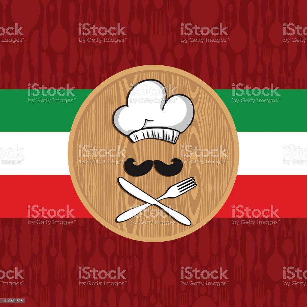 Italian chef restaurant menu design vector art illustration