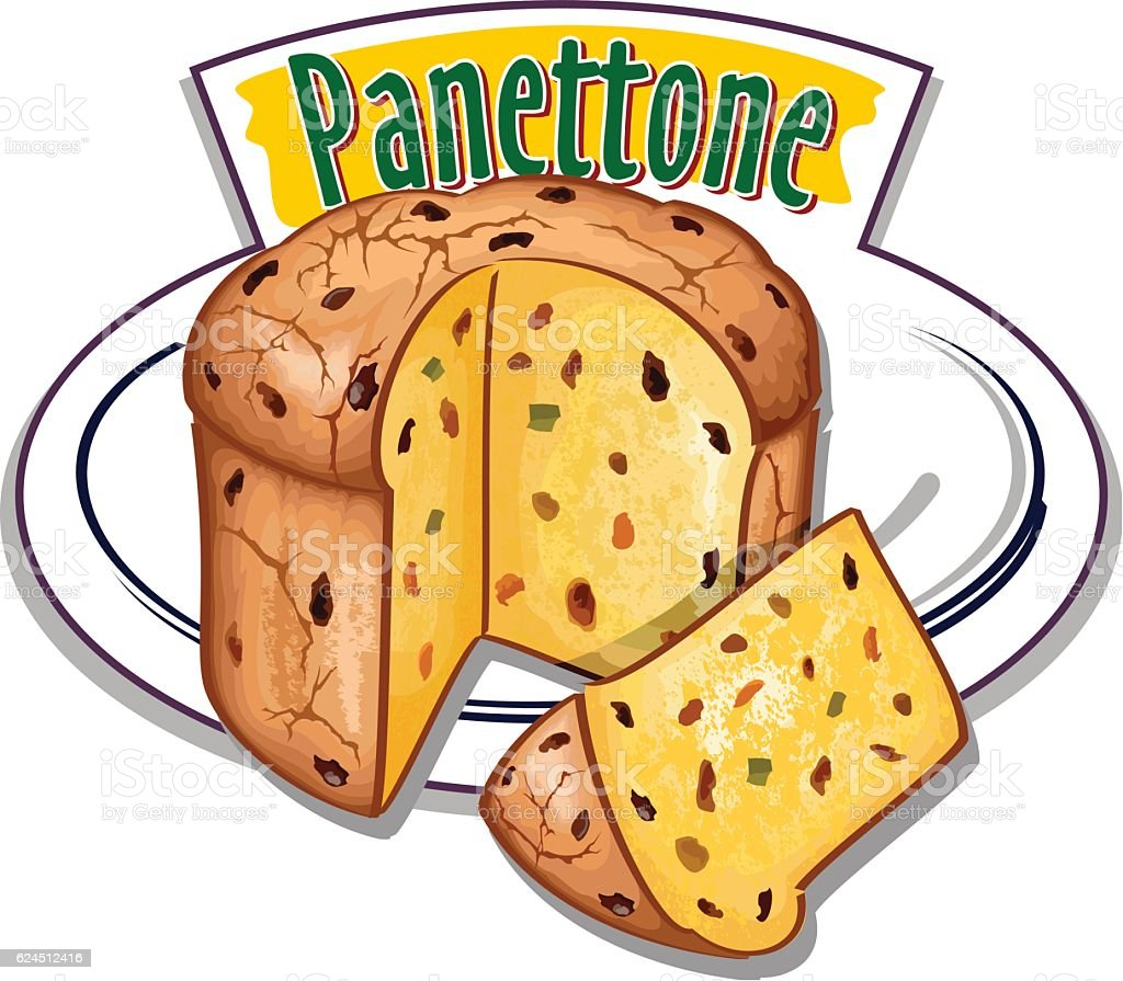 Italian Christmas cake - Panettone - vector vector art illustration