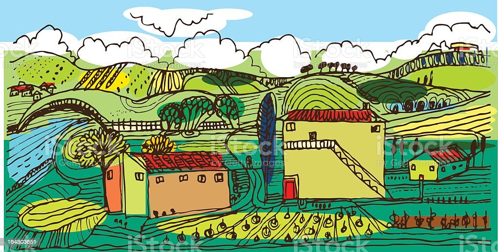 Italian countryside vector art illustration