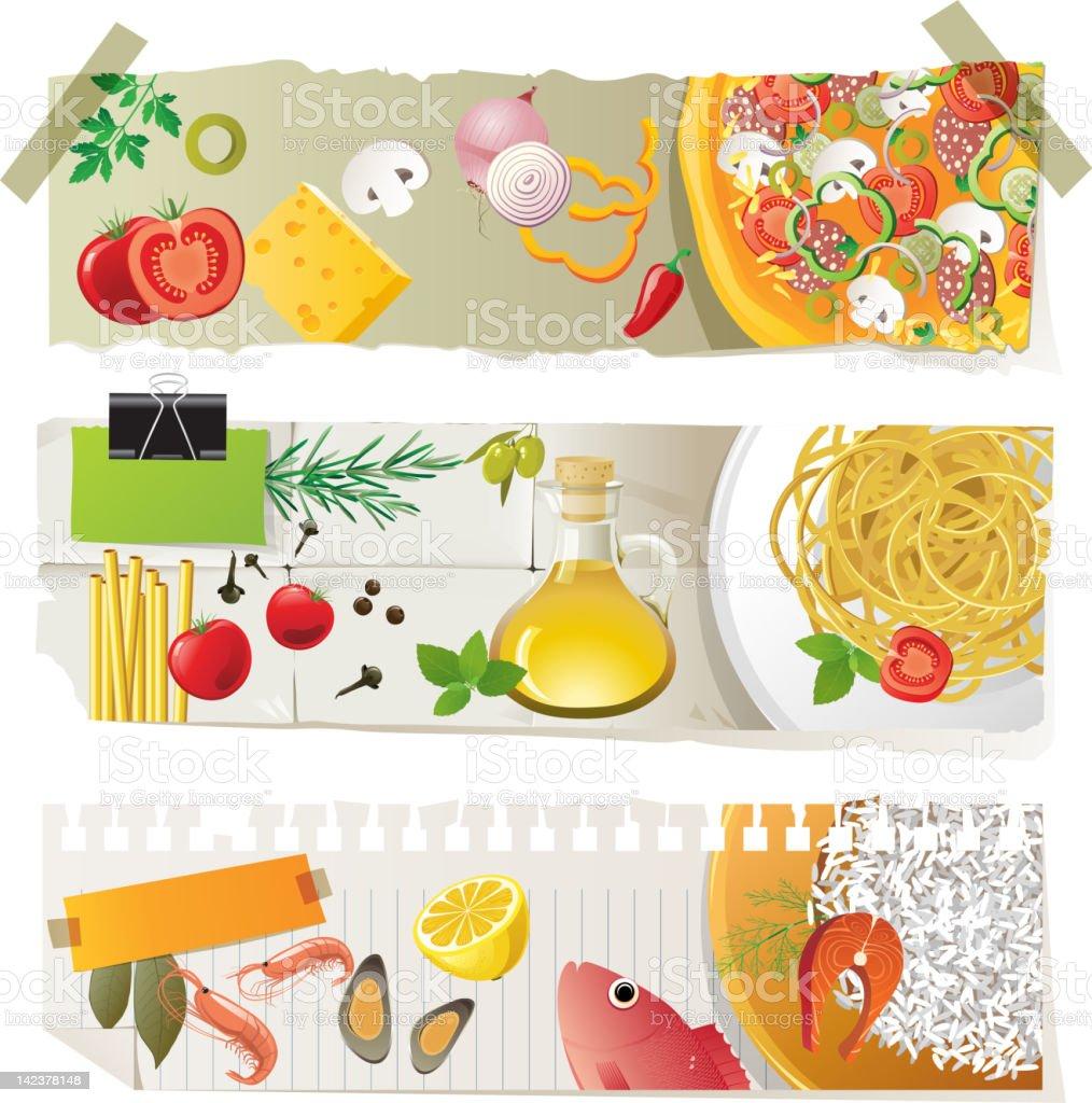 Italian cuisine dishes royalty-free stock vector art