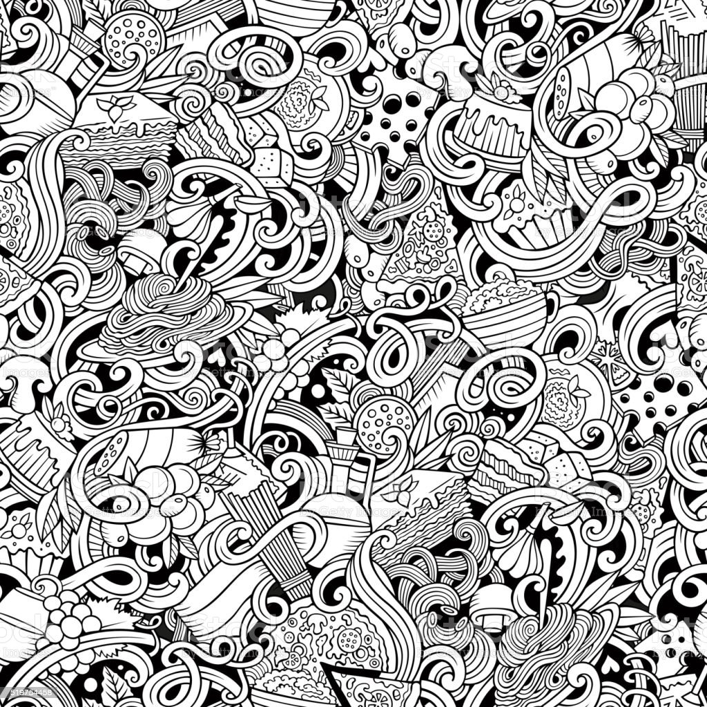 Italian cuisine doodles seamless pattern vector art illustration