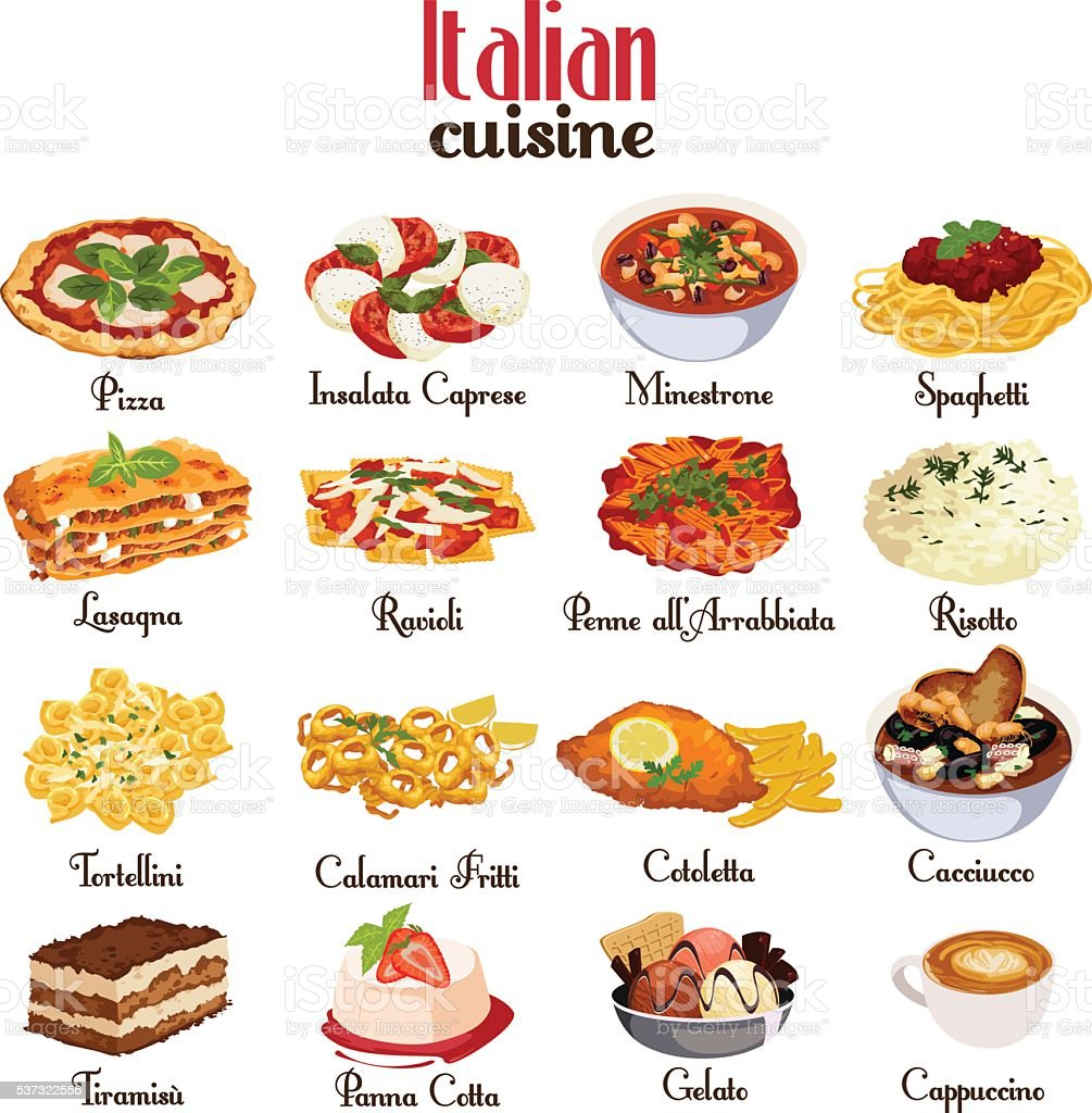 Italian Cuisine Icons vector art illustration