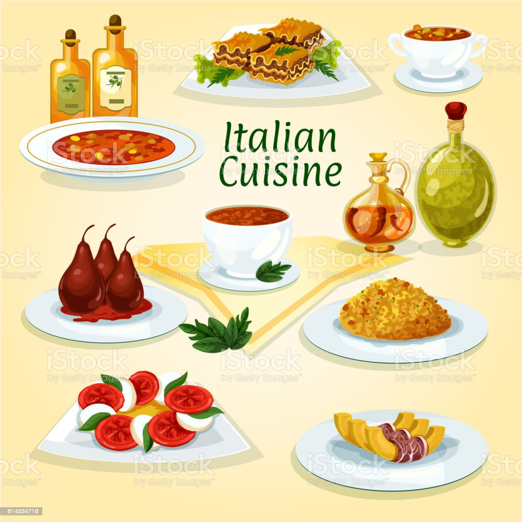 Italian cuisine popular dishes icon vector art illustration