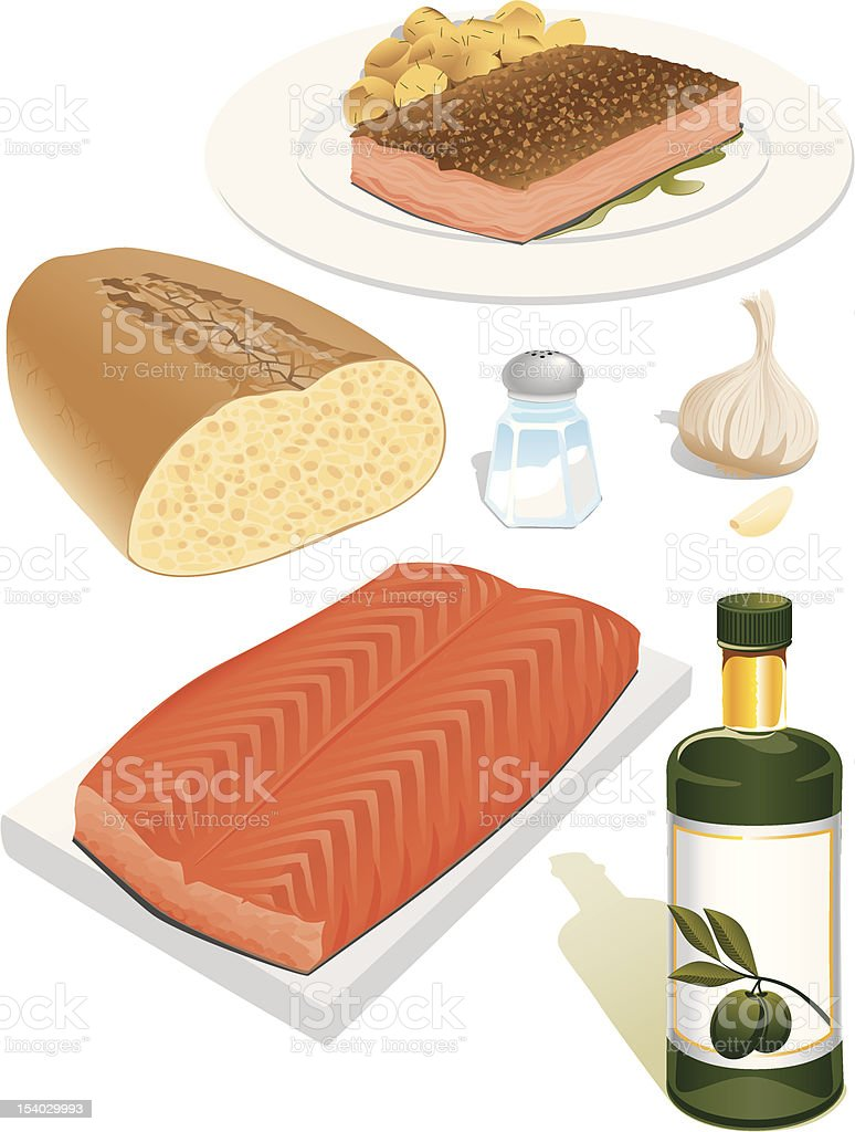Italian cuisine salmon and baked potatoes vector art illustration