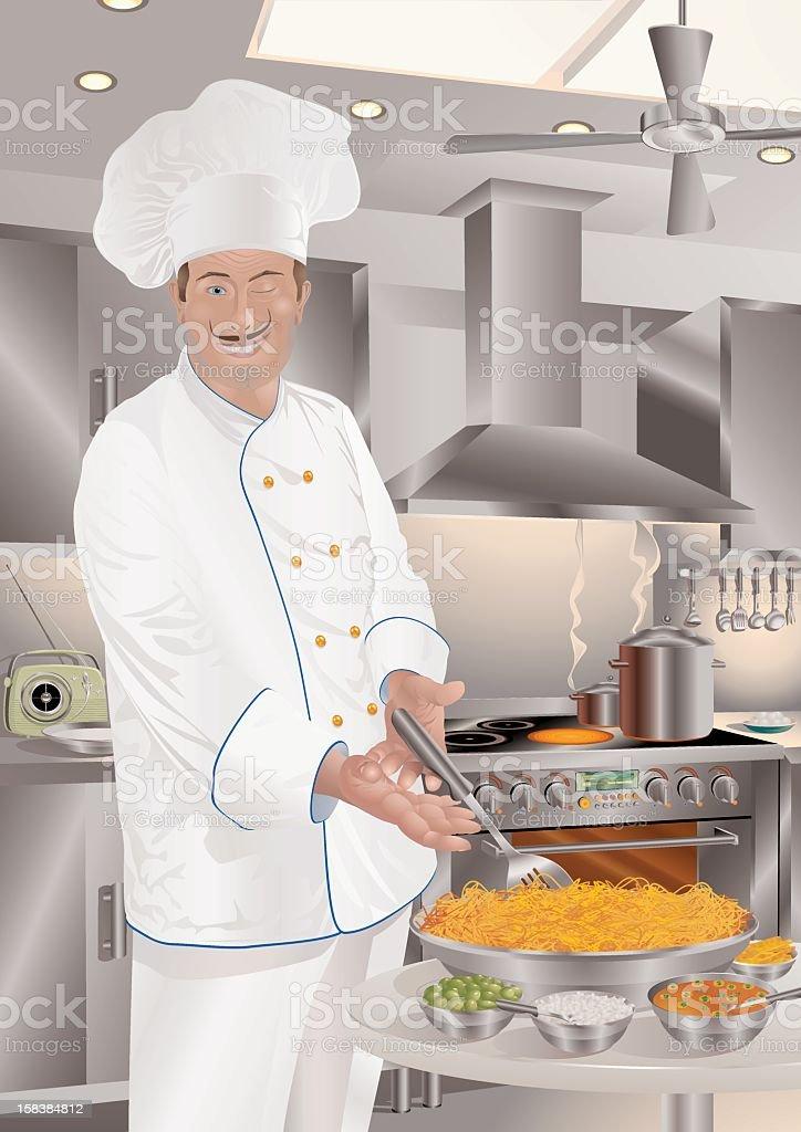 Italian Cuisine (Chef-d'oeuvre) Spaghetti Milanese vector art illustration