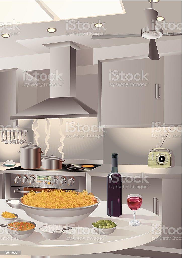 Italian Cuisine - Spaghetti Milanese With Red Wine vector art illustration