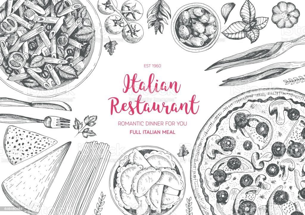 Italian cuisine top view frame. vector art illustration