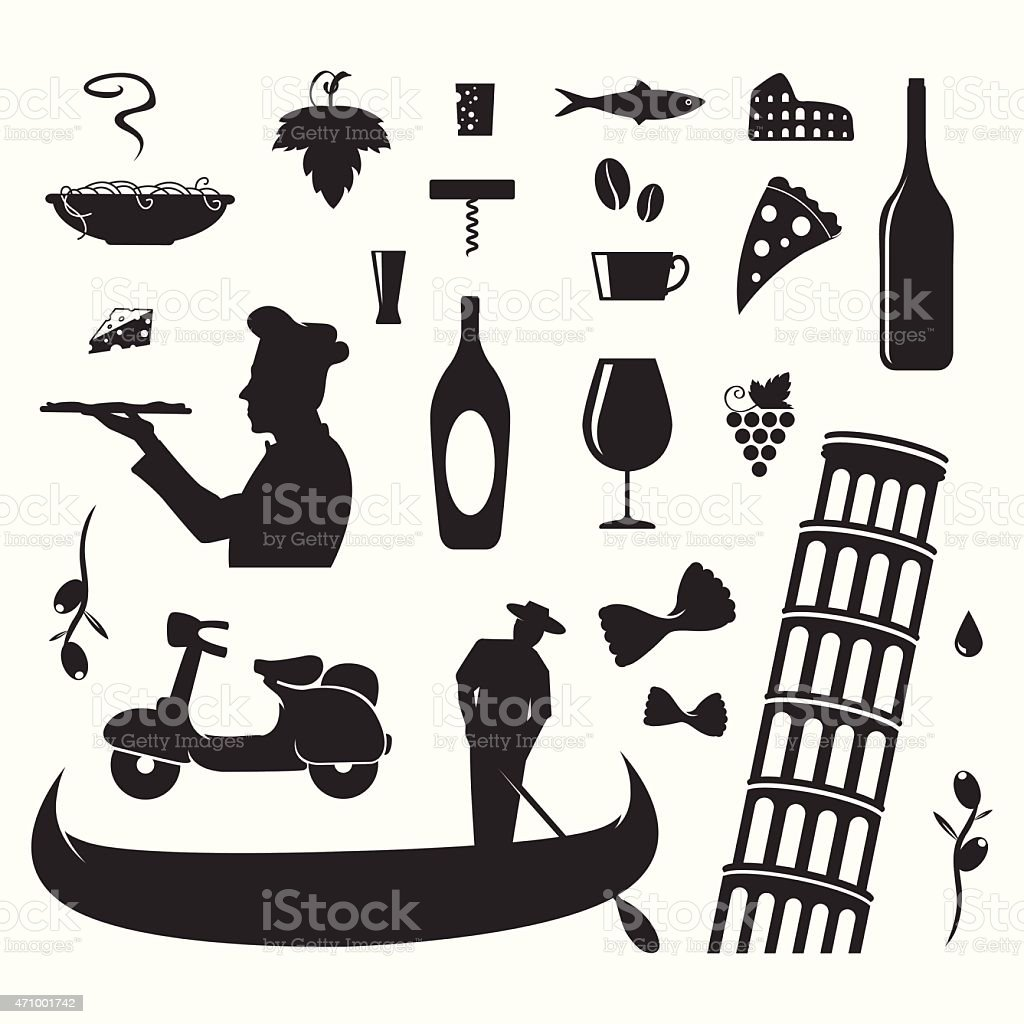 Italian culture symbols and silhouettes vector art illustration
