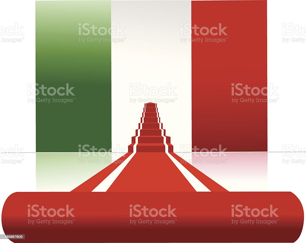 italian flag and red carpet royalty-free stock vector art