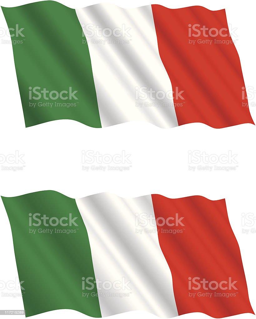 Italian Flag Flying in the Wind 2 vector art illustration