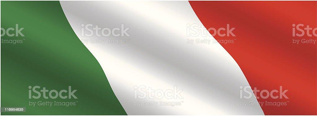 Italian Flag Flying in the Wind vector art illustration
