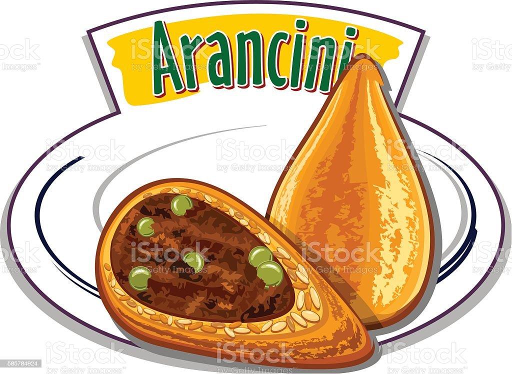 Italian food - Arancini - vector vector art illustration