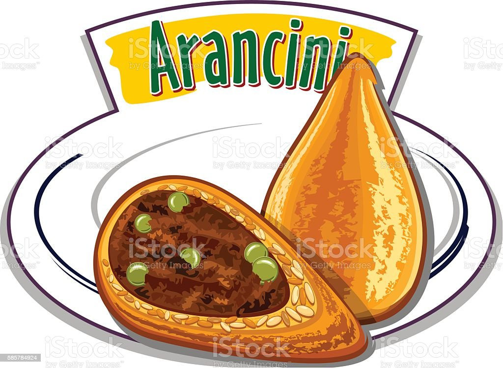 Italian food - Arancini - vector vector art illustration