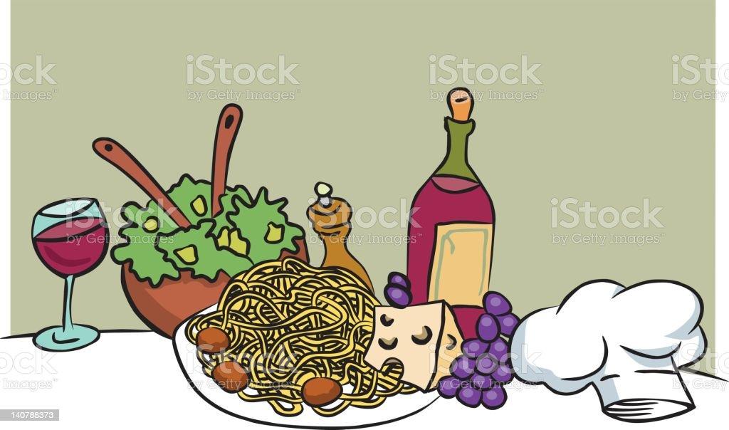 italian food cartoon vector vector art illustration