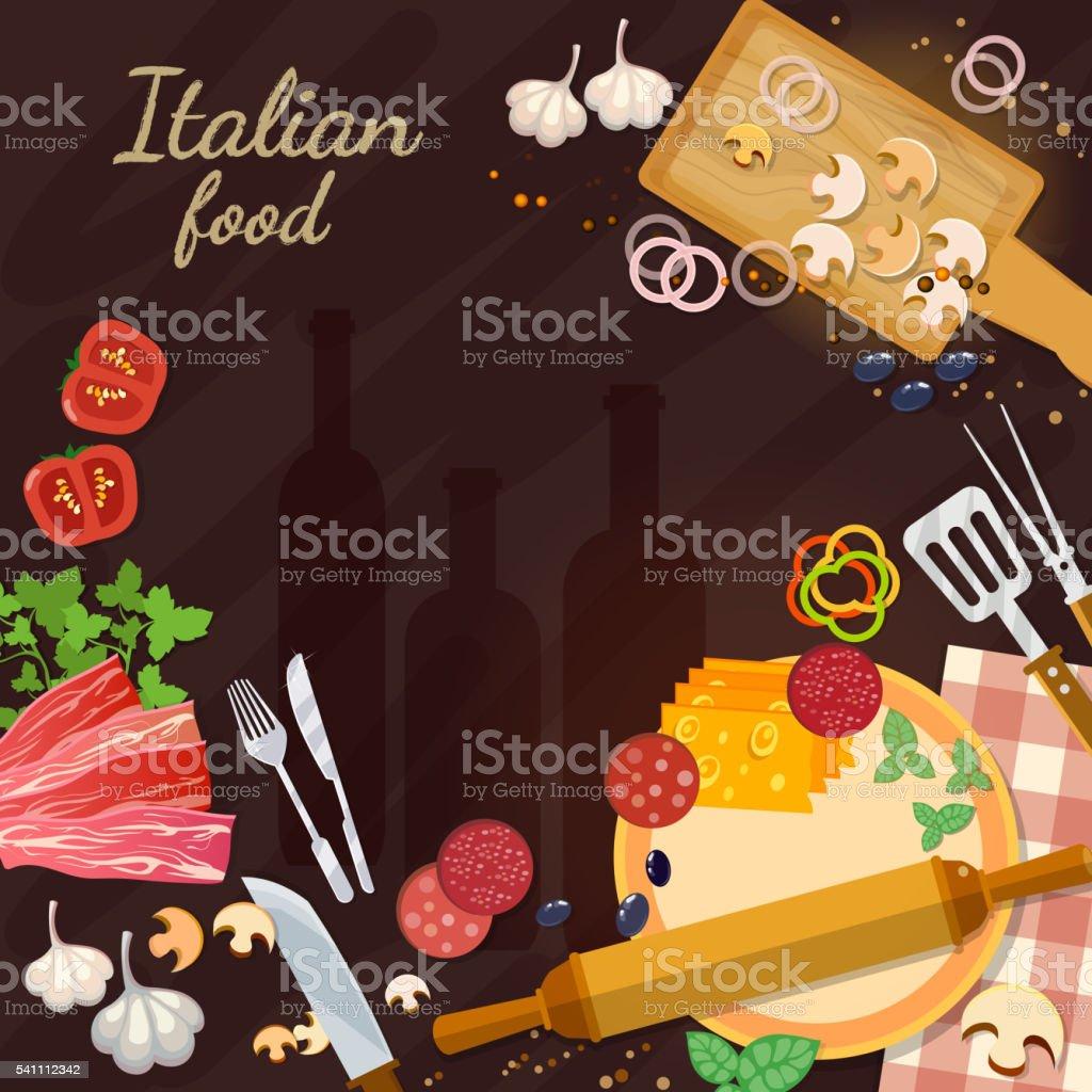 ingredienti alimentari italiana cucinare pizza illustrazione royalty free