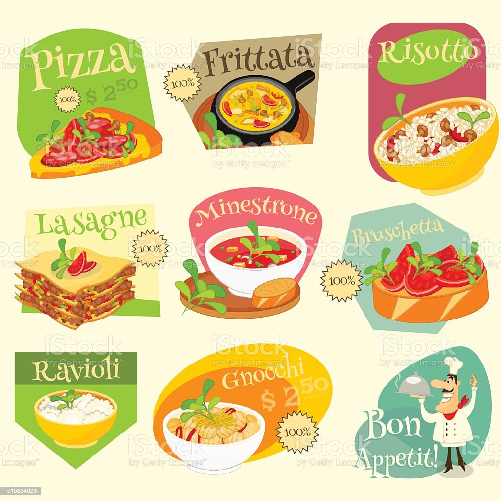 Italian Food Labels Set vector art illustration