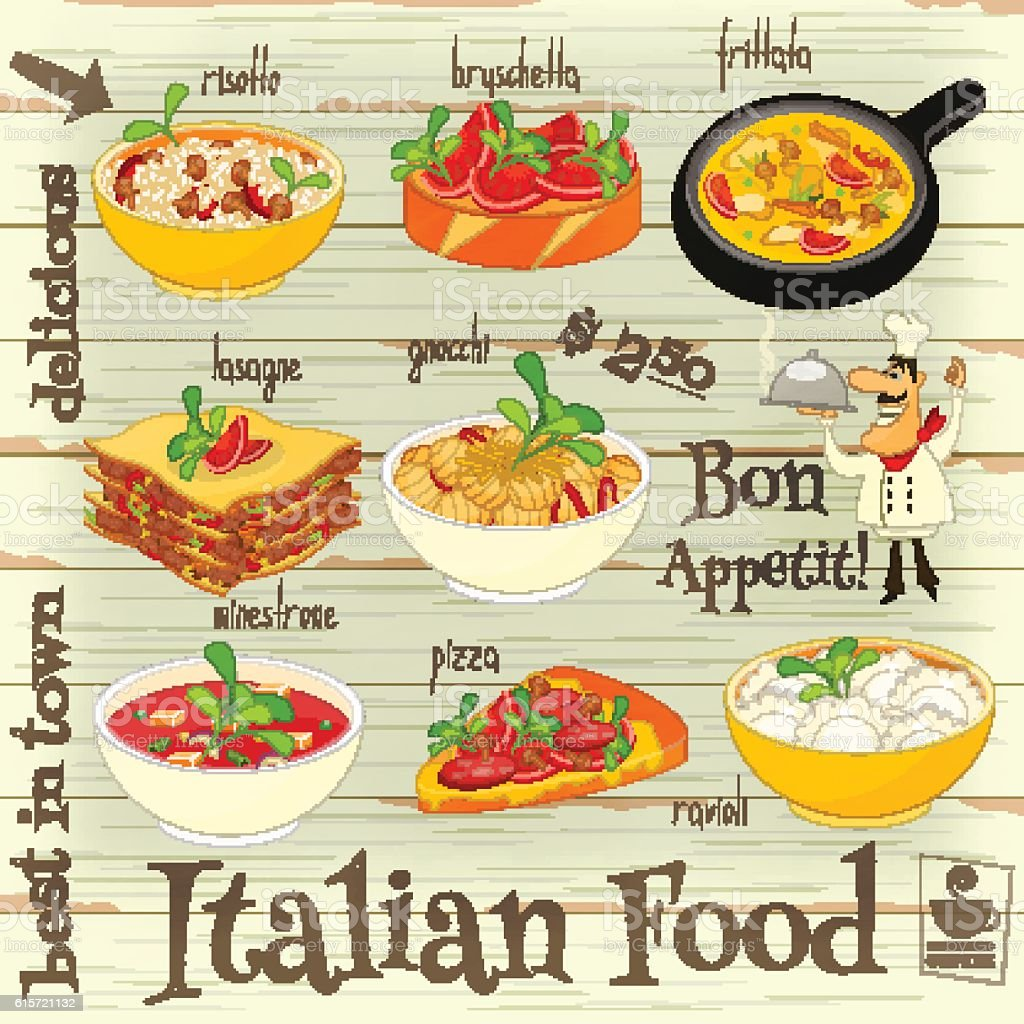Italian Food Menu vector art illustration